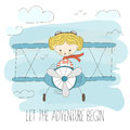 Cute little girl flying a plane on sky. Hand drawn cartoon vector illustration. Let the adventure begin. Fantasy summer Royalty Free Stock Photo