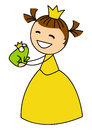 Cute little girl with frog isolated Royalty Free Stock Images