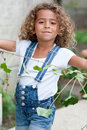 Cute little girl gardening Stock Images