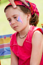 Cute little girl getting make up her face Royalty Free Stock Photography