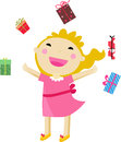 A cute little girl and gift box illustration of Stock Photography