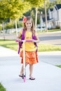 Cute little girl going to school Stock Images