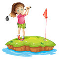 A cute little girl golfing Royalty Free Stock Photo