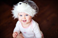 Cute little girl in a hat with Bunny