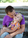 Cute little girl with her father– Outdoor Royalty Free Stock Photography