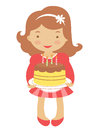 Cute little girl hoding cake Royalty Free Stock Photo