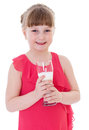Cute little girl is holding big glass of milk healthy eating child isolated on white background Stock Image