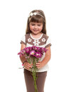 Cute little girl holding the bunch of flowers Royalty Free Stock Photo