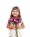 Cute little girl holding the bunch of flowers Royalty Free Stock Images