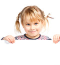 Cute little girl holding white board Stock Image