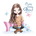 Cute little girl in knitted sweater and skirt sitting on soft pillows. Beautiful young girl with long hair. Hand drawn girl.