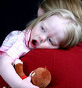 Cute little girl laying head Royalty Free Stock Photo