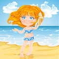 Cute little girl listen big shell on a sunny beach to the sound of the sea in Stock Photography
