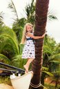 Cute little girl with long hair on the beach Royalty Free Stock Photo