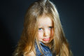Cute little girl with long hair close-up portrait Royalty Free Stock Photo