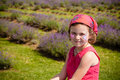 Cute little girl make up lavender field Stock Photo