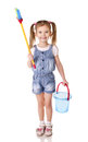 Cute little girl with mop and bucket is ready to clean isolated Royalty Free Stock Photo