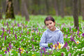 Cute little girl picking flowers Stock Image