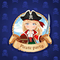 Cute little girl pirate with treasure chest banner for pirate p blue party Royalty Free Stock Photography