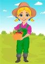 Cute little girl playing gardener with basket full of fresh vegetables