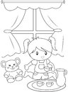 Cute little girl playing indoors coloring page