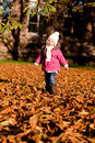 Cute little girl playing outdoor in autumn Royalty Free Stock Image