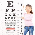 Cute little girl pointing at an eyesight test with stick wooden isolated on white background shot tilt and shift lens Royalty Free Stock Photography
