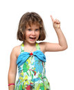 Cute little girl pointing with finger up Royalty Free Stock Photo