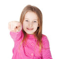 Cute little girl pointing her finger Stock Photo