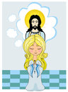 Cute little girl praying to jesus illustration Stock Images