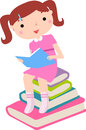 Cute little girl reaing book illustration of Royalty Free Stock Images