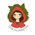 A cute little girl. Red Riding Hood fairy tale.