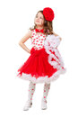 Cute little girl in red and white dress with big bow isolated Stock Photos
