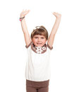 Cute little girl rised hands up Stock Image