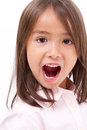 Cute little girl shouting, communicating Royalty Free Stock Photo