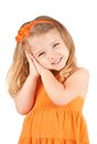 Cute little girl smiling isolated on white background Royalty Free Stock Photo