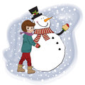 Cute little girl with snowman Stock Images