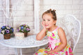 Cute little girl  with spring flowers Stock Photography