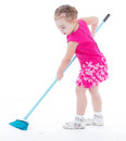 Cute little girl sweeps a floor isolated on white baby girlie lass female child lassie concept Royalty Free Stock Image
