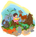 A cute little girl is teaching magic to animals in the wood create by vector Stock Photos