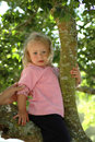 Cute little girl in tree Royalty Free Stock Photos