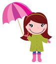 Cute little girl with Umrella in rain Royalty Free Stock Photography