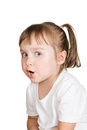 Cute little girl very surprised against white background Royalty Free Stock Photos