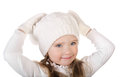 Cute little girl in warm hat and gloves isolated Royalty Free Stock Photos