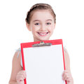Cute little girl with white blank isolated on Stock Images