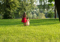 Cute little girls having fun at summer day