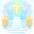 Cute little girls praying illustration Royalty Free Stock Photography