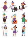 Cute little Halloween Witch girl harridan broom cartoon magic young character costume hat vector illustration. Royalty Free Stock Photo