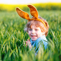 Cute little kid boy with easter bunny ears in green grass on holiday celebrating traditional european feast and making egg Royalty Free Stock Photo