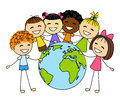 Cute little kids with earth planet isolated on white background Stock Photo